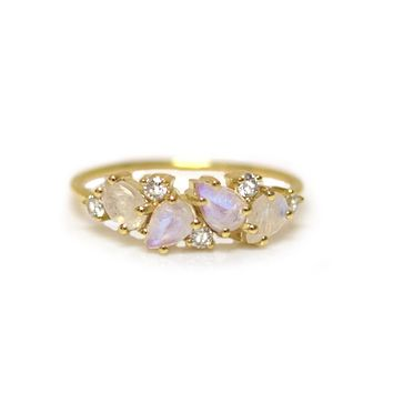 14kt Rainbow Moonstone & Diamond Woodland Fairytale Ring