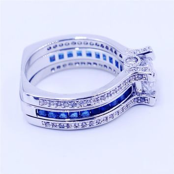 Blue CZ Sterling Silver Women Birthstone Engagement Wedding Band Ring Sz 5-11