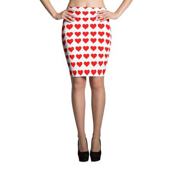 Heart and More Hearts Pencil Skirt Dress, XS-XL, Red White