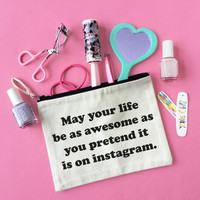 Instagram Life Canvas Pouch, Makeup bag, Zipper Pouch, Bag With Saying Funny