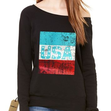 USA Vintage Distressed Look Slouchy Off Shoulder Oversized Sweatshirt