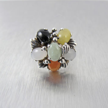 Sterling Jade Cluster Ring, Multi Color Jade Cabochon Cocktail Ring, Vintage Sterling Silver Jade Jewelry, Jadeite Statement Ring Size 7