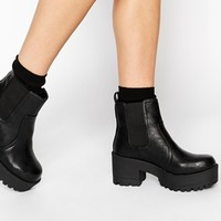New Look Chap Grunge Sole Heeled Boots at asos.com