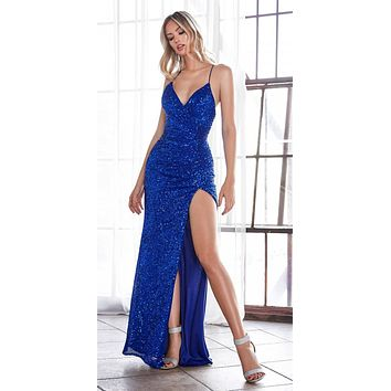 Long Fitted Sequin Gown Royal Blue Gathered Waistline Lace Up Back