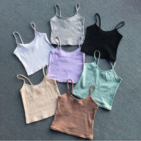 2017 NEW Fashion Sexy Women Bralette Bralet Bustier Crop Top Cami Tank Tops European style elasticity Sleeveless Vest 7color