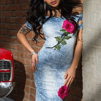 Rose Embroidered Denim Dress Jeans  Casual Off Shoulder Cute Dress For Wo SM6