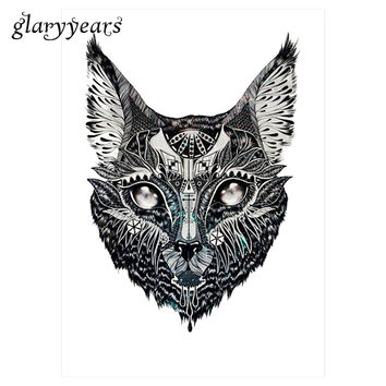 1pc Flower Arm Tattoo Sticker Water Transfer Temporary Design KM-017 Indian Cat Head Pattern Design Beauty Women Body Art Tattoo