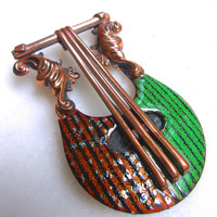 MATISSE Lyre Copper Brooch Green Brown Rare Enamel Vintage