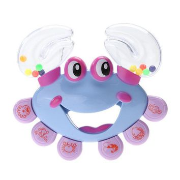 DCCKL72 Baby Shaking Rattle Crab Animal Design Handbell Musical Instrument ABS Plastic Jingle Shaking Rattle Kids Toy