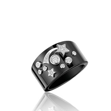 Cosmique de CHANEL Ring in 18K white gold, black ceramic and diamonds - CHANEL