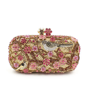 Plum flower Rhinestone Minaudiere Metal Clutch for women