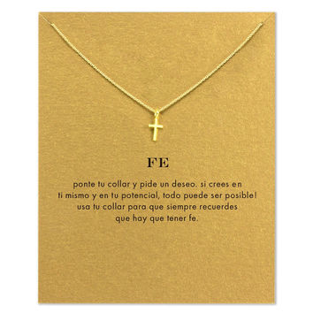 Hot Sale Sparkling Cross gold plated  Pendant necklace Clavicle Chains Statement Necklace Women Jewelry