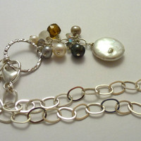 Pearl and Gemstone Dangle Necklace , Bridal Necklace
