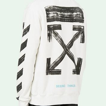 off white autumn and winter men and women plus cashmere hooded hoodie sweater White