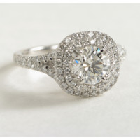 Duet Halo Diamond Engagement Ring in 18k White Gold | Blue Nile