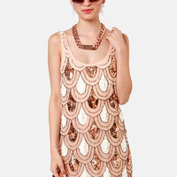 Party Like It's 1929 Peach Sequin Dress