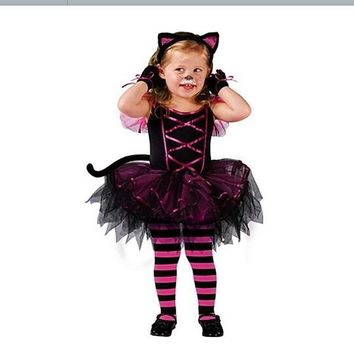 cosplay costumes for girl dress princess cat style dance dress suit with tail hair accessories kids Christmas dress EK105