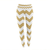 "KESS Original ""Candy Cane Gold"" Chevron Yoga Leggings"