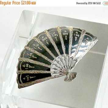 SALE Silver Nielloware Fan Brooch, Vintage Siam Niello Brooch, Sterling Silver Fan Brooch.