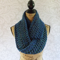 Ready To Ship Infinity Scarf Peacock Blue Gold Green Purple Women's Accessory Infinity Scarf