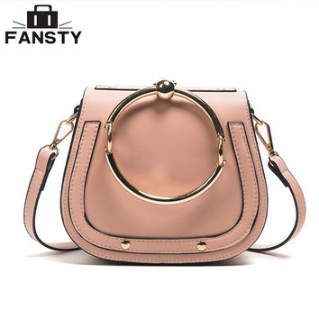 Fashion Designer European Style Women Handbag Casual Metal Ring Saddle Lady Crossbody Bag Simple PU Leather Shell Messenger bag