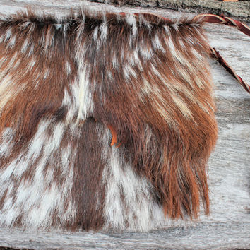Goat Fur and Leather Extra Large Medicine Bag, Shaman Tool Bag, Messenger Bag, Man Purse, Braided Leather Strap