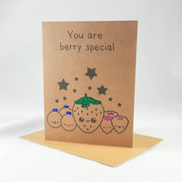 Berry Special, Fruit, Funny Card, Funny Greeting Card, Greeting Cards, Pun Card, Cute Card, kawaii, kraft brown, glitter