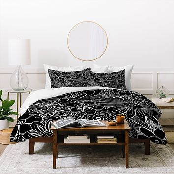 Madart Inc. All Over Flowers Black 1 Duvet Cover