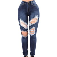 Women High Waist Ripped jeans
