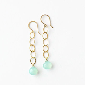 Long Aqua Earrings, Long Gold Chain Earring, Aqua Chalcedony Gemstone Briolette, Linear Drop, French Wires