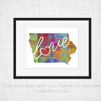 Iowa Love - IA Canvas Paper Print:  Grunge, Watercolor, Rustic, Whimsical, Colorful, Digital, Silhouette, Heart, State, United States