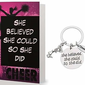 Cheer Keychain & Card Gift Set - She Believed She Could So She Did