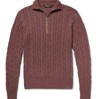Loro Piana - Suede-Trimmed Cable-Knit Cashmere Sweater   MR PORTER