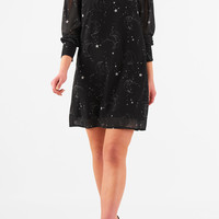 Constellation print georgette shift dress