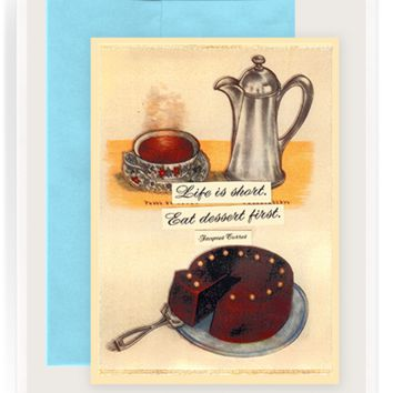 Eat Dessert First Folded Greeting Card