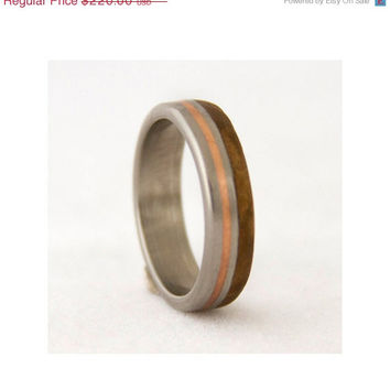 Mens Wedding Band with olive wood and titanium ring copper inlay