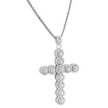 Sterling Silver Designer Solitaire Cluster Ankh Pendant Free Chain