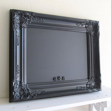 Black FRAMED CHALKBOARD Vintage Style Wedding Sign MAGNETIC Photo Booth Sign Kitchen Chalk Board Black Board Gothic Magnet Board