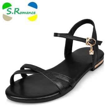 S.Romance Genuine Leather Women Flats Sandals Plus Size 34-43 New Fashion Casual Solid