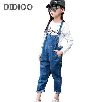 Big Kids Jeans Overalls for Girls Denim Trousers Children Solid Pants Autumn Girls Jumpsuit Pants for Girls Overalls