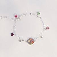 The gathering - cherry blossoms of four colors Japanese washi bracelet - with pink, purple, peridot swarovski crystal charms