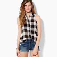 AE SLEEVELESS PLAID BUTTON DOWN