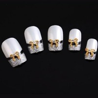 Yesurprise Gold Bow Tie 10 pieces Silver 3D Alloy Nail Art Slices Glitters DIY Decorations