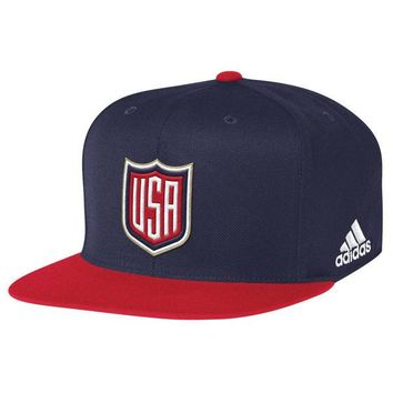 Team USA World Cup Of Hockey Player 2 Tone Flex Fit Hat By Adidas