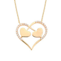 Two Hearts One Love 14k Solid Gold Necklace