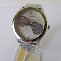 MICHAEL KORS HARTMAN CRYSTAL AVIATORS SILVER STAINLESS STEEL LADIES WATCH MK3672
