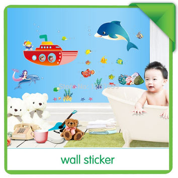 new arrival Home decor The dolphin Mermaid ship bedroom/parlour Background wall sticker SM6