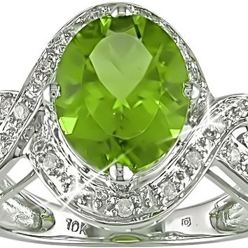 1/6 Carat Diamond & Peridot Ring in 10K White Gold