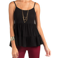 Tiered Strappy Babydoll Top - Small - Black /
