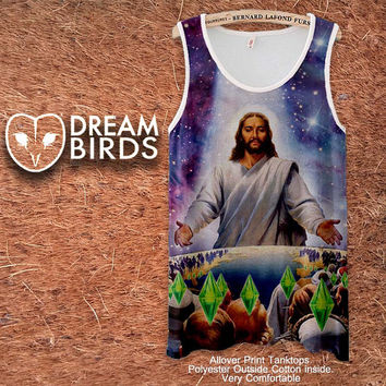 Jesus Died For your Sims Fullprint Adult Tanktop